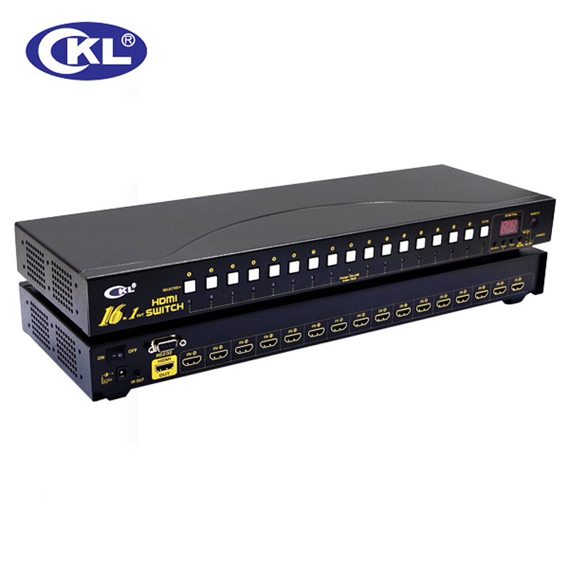 CKL 16 Port Auto HDMI Switch 16 In 1 Out With IR Remote RS232 Control Support 3D 1080P EDID Auto Detection Rackmount  CKL-161H