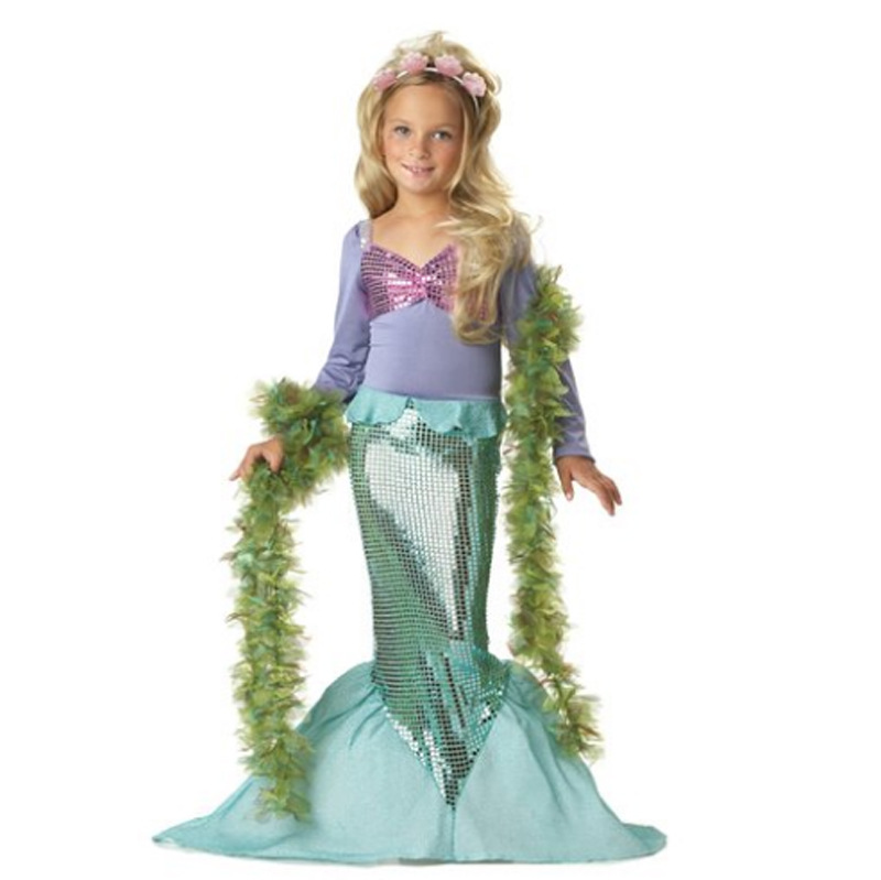 Hallween Carnaval Costumes for Kids Girl Long Sleeve Little Mermaid Costume Dress + Headband Children Girl Birthday Outfit