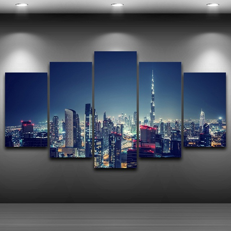 Canvas HD Printed Painting For Living Room Picture Frame Modern 5 Panel Dubai City Night Scene Poster Wall Art Home Decor PENGDA galaxy s7 edge geekbench