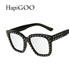 HapiGOO Vintage Square Sunglasses Women Mirror 2017 New Fashion Brand Designer Sun Glasses For Female Big Frame Shades UV400