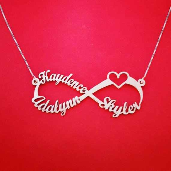 Personalized Custom Name Necklace Stainless Steel Chain Infinity Heart Nameplate Necklaces Couple Love Jewelry Bff Sister Gift