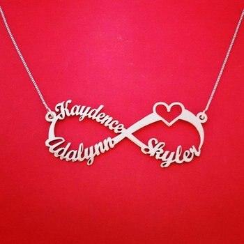 973d00997323 Personalizado nombre personalizado collar de cadena de acero inoxidable  infinito corazón placa collares par amor joyería Bff hermana regalo