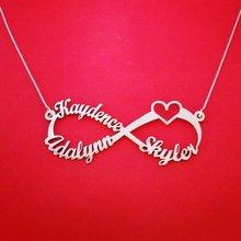 bdd0ed1627c6 Personalizado nombre collar cadena Acero inoxidable infinito corazón placa  collares pareja amor joyería Bff hermana regalo