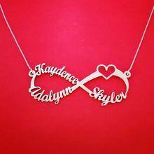 1dcedee342e2 Personalizado nombre personalizado collar de cadena de acero inoxidable infinito  corazón placa collares par amor joyería Bff her.
