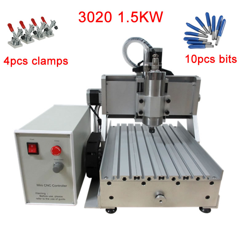 DIY CNC 3020 3axis 1.5KW Water Cooling Spindle Ball Srew Wood Milling Machine For Metal Stone Marble With Full Kit