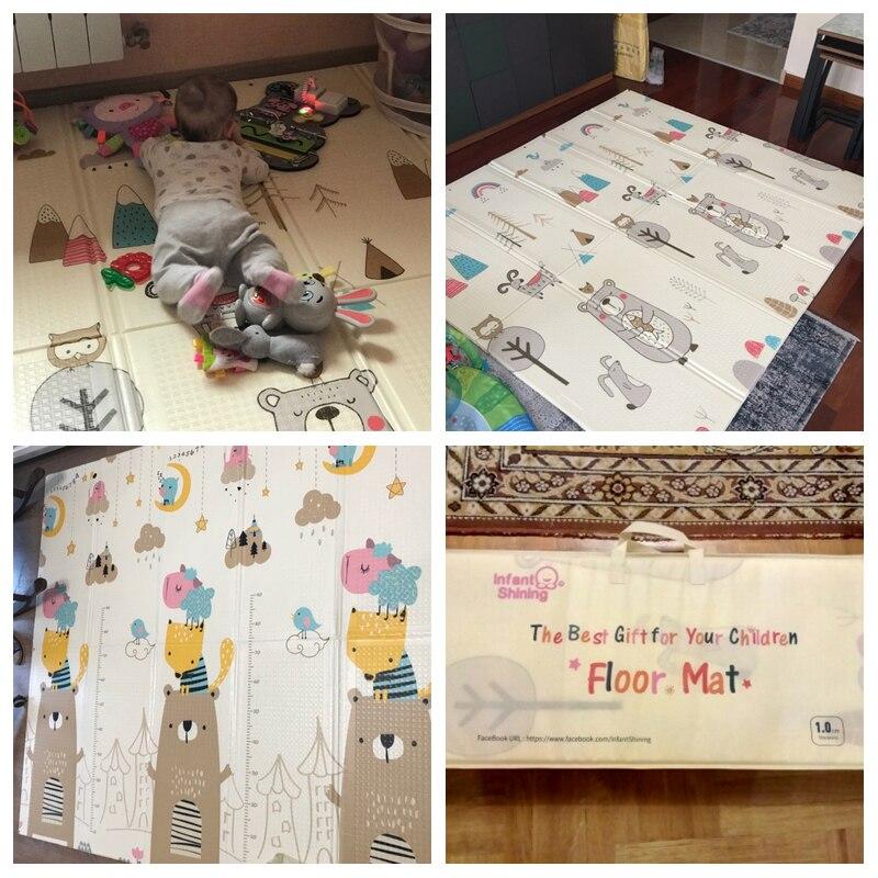 Bébé brillant 200 cm * 180 cm * 1 cm bébé jouer tapis pliant XPE ramper Pad maison en plein air pliant imperméable Puzzle jeu Playmat - 5