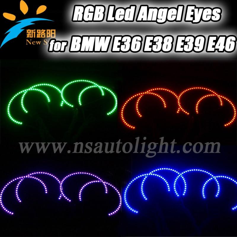 For BMW E38 E39 E46 3 5 7 Series Led Headlight RGB Multi-Color LED Angel Eyes Kit, 7 colors 5050 SMD angel eyes led headlight bmw 7 с пробегом в москве