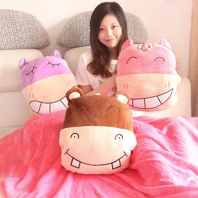 Candice guo plush toy happy hippo soft coral velvet car air baby blanket warm cushion pillow creative hand stuffed birthday gift lotte kinder happy hippo