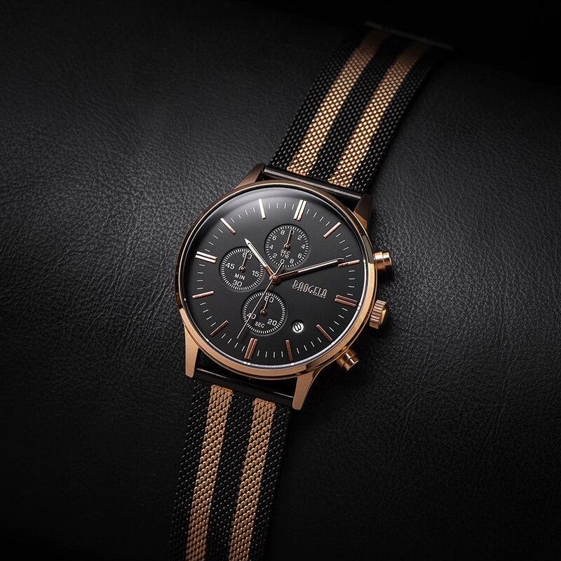 BAOGELA Chronograph Herren Uhren Top-marke Luxus Quarz Uhr Edelstahl Band Armbanduhr Für Mann 1611