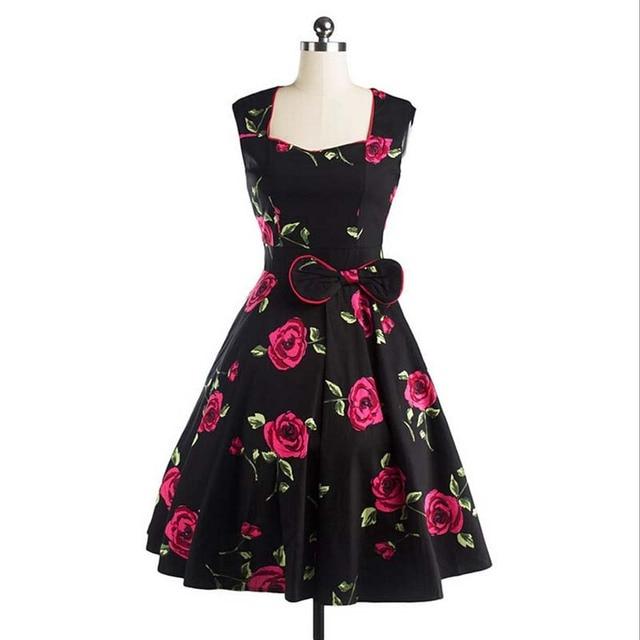 LERFEY Womens Retro Vintage Bow Dress 1950s 60s Rockabilly Rose Print Swing  Casual Summer Party Dresses Elegant Tunic Vestidos 196d6a601274
