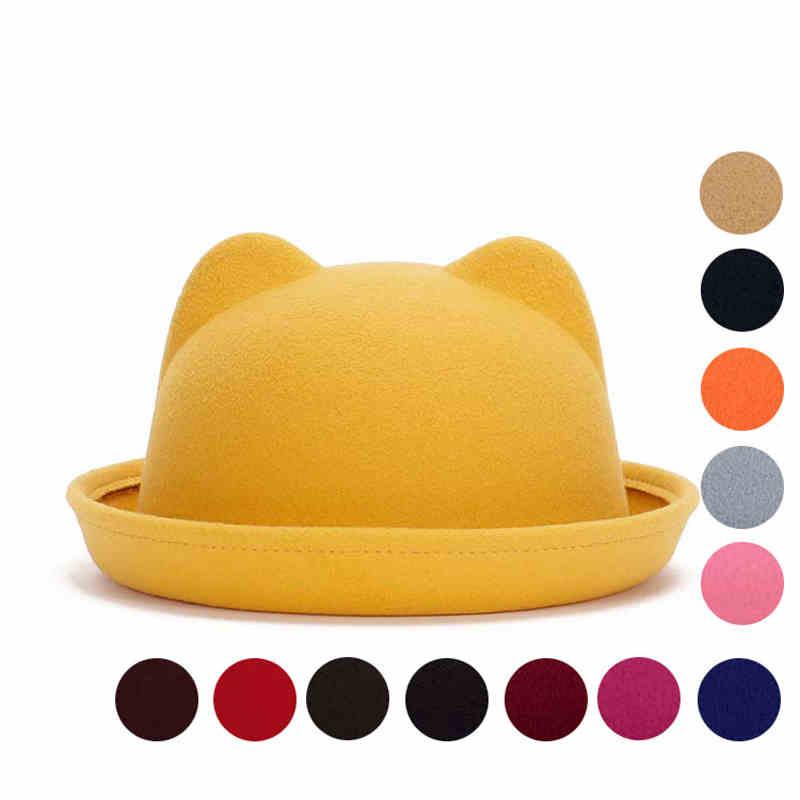 Aliexpress.com   Buy Fashion Children fashion hat Wool Girls Fedora Hat  Devil Horns Cat ear animal Bowler Derby Cute Cap For girls Good Package 20  from ... c00926d2809a