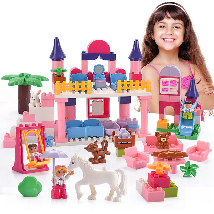 [ Funny ] DIY 117pcs Beautiful Princess dream castle park Larger particles Building Blocks toy with Legoed baby girl best gift diy 117pcs princess dream castle park larger particles building blocks toy kids girl best gift compatible with legoed duploe