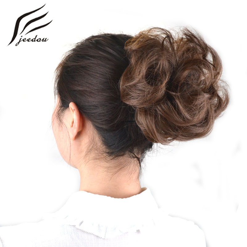 jeedou Synthetic Hair Chignon Donut Black Brown 25Colors 30g Hair Bun Pad Chignon Elastic Hair Rope Rubber Band Hair Extensions