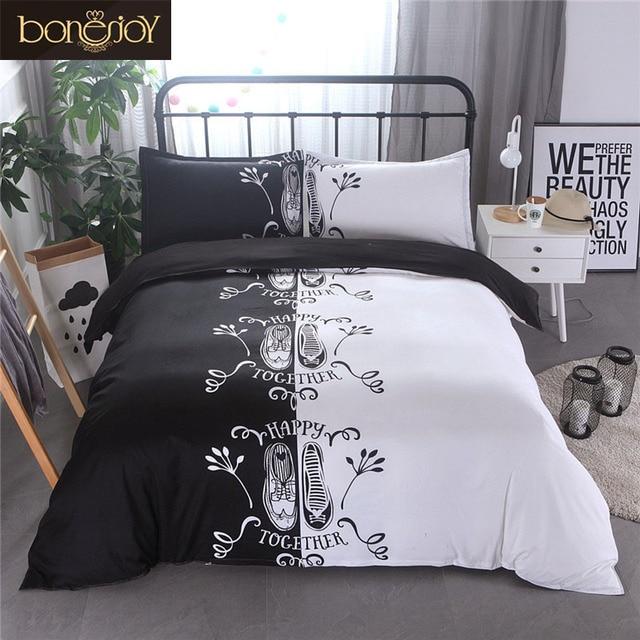 Bonenjoy Schuhe Drucken Für Liebhaber Paare Bettwäsche Set Schwarz
