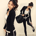 Hot Black Tracksuit Women Set Fashion Spring Autumn Slim Long Sleeved Sportswear Casual Suit Tops+Pants Svitshot
