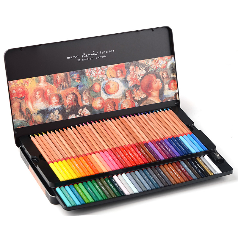 24/36/48/72/100 Colors Marco Renoir Art Professional Oily Colored Pencils Painting pencil /Colored Pencil Tin Box marco renoir fine art professional oily colored pencils 48 color painting pencil with tin box
