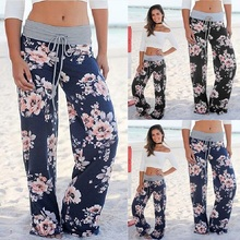 Ladies Floral Print Wide Leg Pants Women Long Drawstring Casual Loose Pant 2018 autumn Boho Beach Elastic High Waist Trousers
