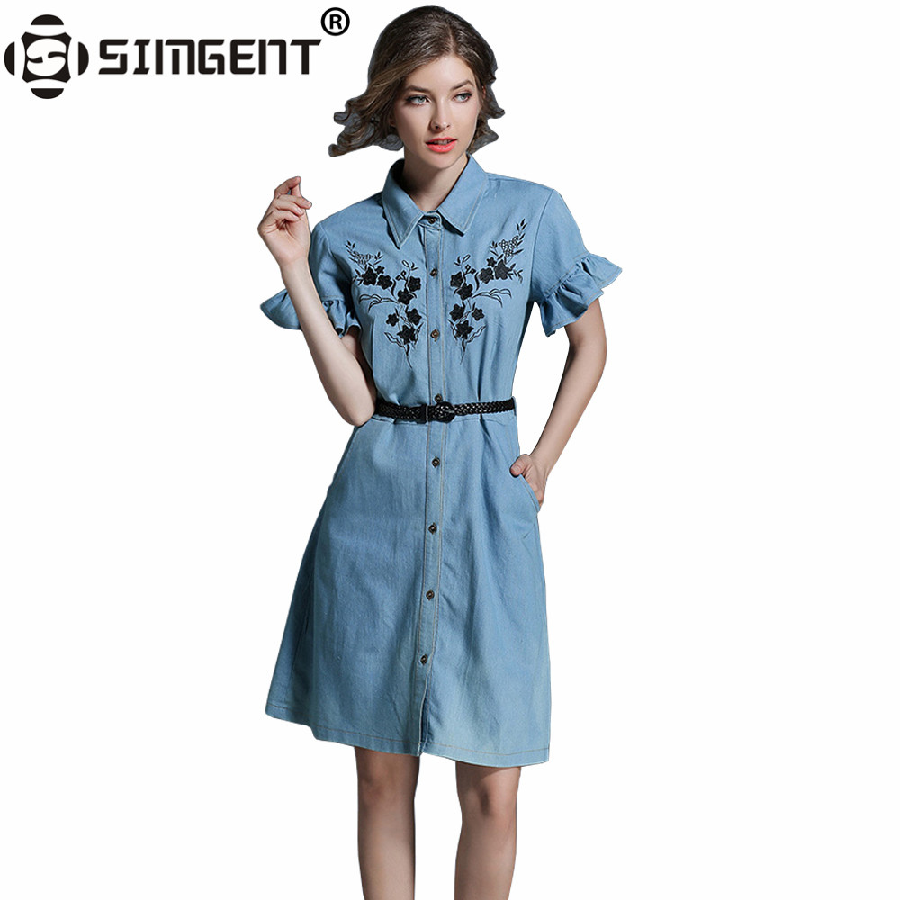 Simgent Phụ Nữ Ngọt Bướm Tay Áo Denim Váy Thời Trang Nữ Thương Hiệu Casual Dây Thắt Lưng Jeans Thêu Dresses Vestidos SG7741