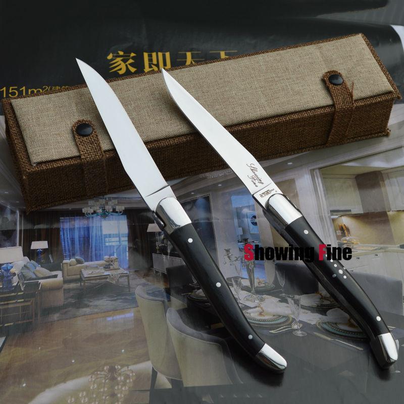 מתנות חג המולד Laguiole נירוסטה ארוחת ערב סכינה LayerWood ידית שולחן Kinves סטייקים סכינים כלי מטבח, 2pcs בתיבת עבודת יד