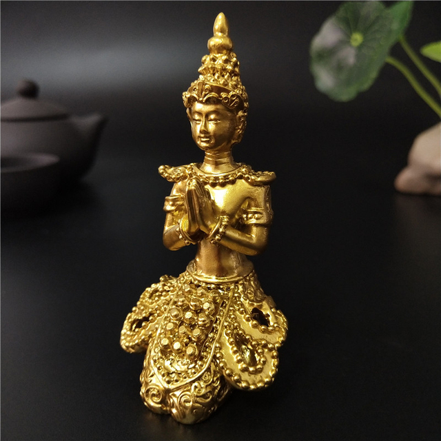 Golden Meditation Buddha Statue Thailand Buddha Sculptures Figurines Resin Crafts Ornament For Home Garden Flowerpot Decoration 5