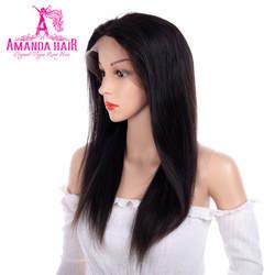 Аманда прямо Full Lace парики человеческих волос с натуральный волос предварительно сорвал 100% перуанский Волосы remy Парики 150 плотность