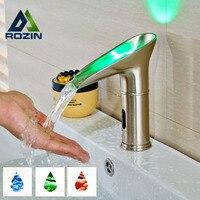 2616 Newly Water Saving Led Light Basin Faucet Automatic Bathroom Basin Mixer Taps Waterfall Sensor Faucet