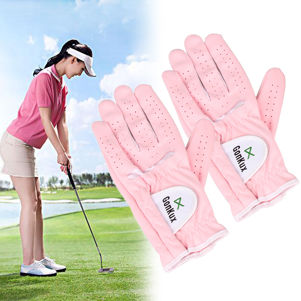 1 Pair Golf Gloves Women Breathable Left and Right Golf Glove Hand Super Fine Cloth Soft Pink Color Top Quality EA14 ...