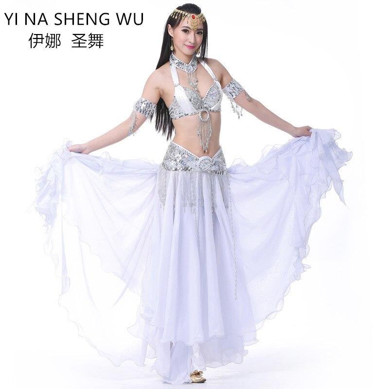 Adult womem Professional Belly Dance Costume 2 3pcs set Bra Belt Long Skirt chiffon for lady