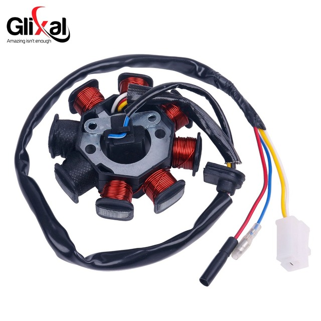 Glixal GY6 49cc 50cc 8 coil Magneto Alternator Stator for 139QMB 139QMA Chinese Scooter Moped Engine (Dual Ignition Coils)