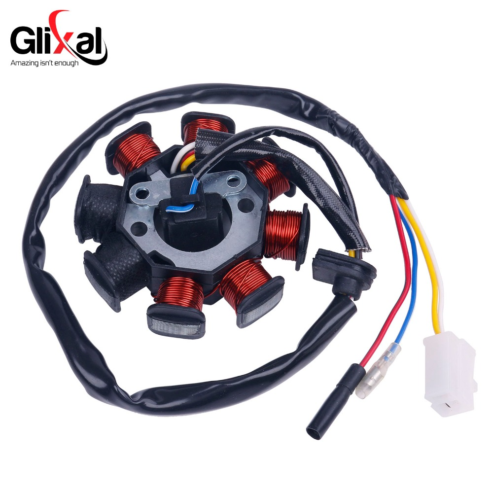 Glixal GY6 49cc 50cc 8-coil Magneto Alternator Stator for 139QMB 139QMA Chinese Scooter Moped Engine (Dual Ignition Coils)