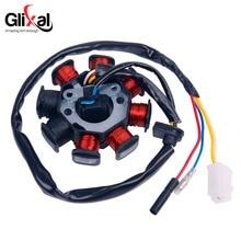 Glixal Stator dalternateur magnétique GY6 49cc 50cc, 8 bobines pour moteur de cyclomoteur chinois 139QMB 139QMA (bobines à double allumage)
