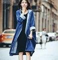2017 nueva otoño calle de la moda disparar párrafo largo grande flojo azul chaqueta de mezclilla con capucha capa femenina
