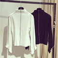 Women Blouses Tops 2016 Korean Style Fashion Turtleneck Ruffles Flare Sleeve Long Sleeve Shirt Black White blusa feminina T154