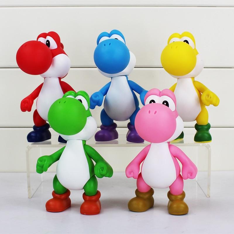 Супер Марио Йоши ПВХ фигурку yoshi 5 видов цветов игрушки Йоши рука может двигаться кукла подарок 5 дюймов Розничная