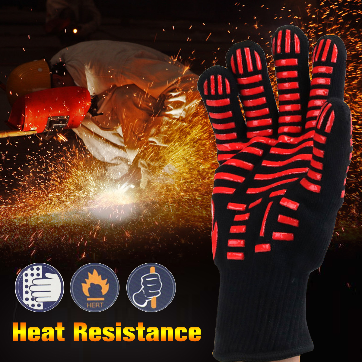 Fire Insulation Safety Gloves Heat Resistant Glove Aramid BBQ Glove Oven Kitchen Glove Direct Supply Forearm Protection 932f high temp heat resistant welding gloves bbq oven firebreak aramid fiber work glove