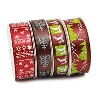 25 yards Ribbon High - grade Ribbon Christmas Party Gift Strap Ribbon Brown Ribbon Striped
