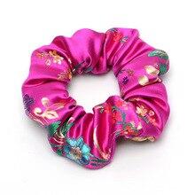 1PCS Satin Silk Hair Scrunchies Elastic Hair Bands Ties Embroided Bohemia Girls Hair Accessories Women Girls Ponytail Holder original 1pcs ssg45c30