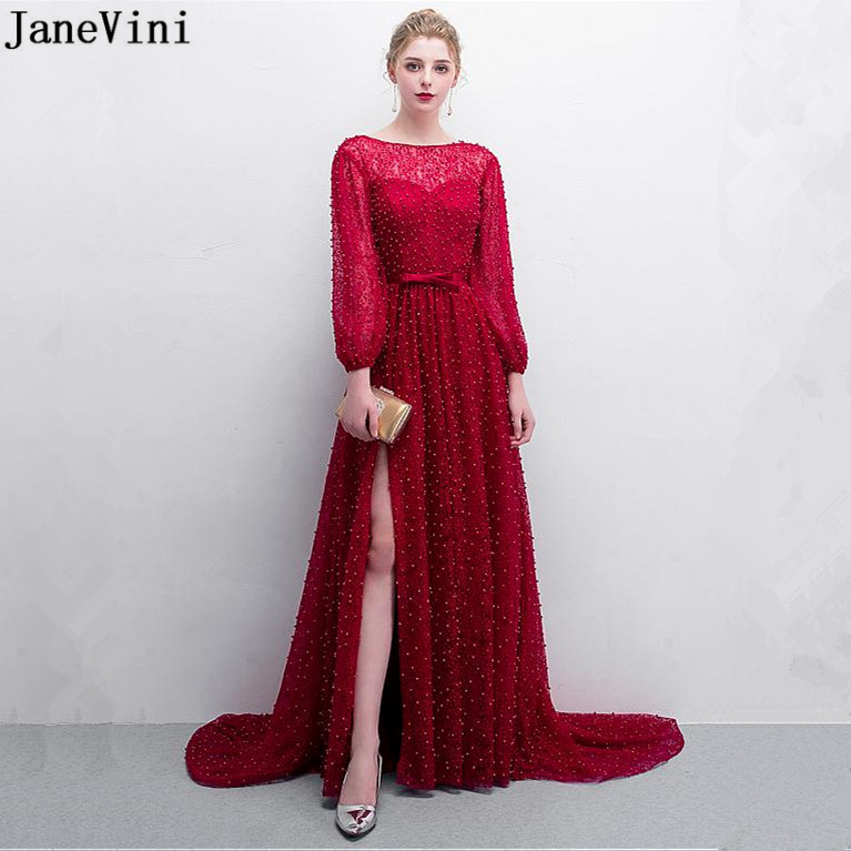 JaneVini 2019 Luxury Full Pearls Lace Burgundy Long   Bridesmaid     Dresses   Scoop Neck Side Split A Line Sexy Dubai Prom Party Gowns