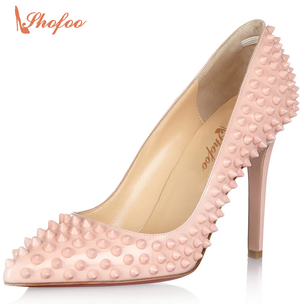 Women Sweet Pink 10cm High Heels Pumps Pointed Toe With Rivet Dress&Party&Office&Wedding  Shoes Large Size 4-15 Shofoo 2017 2015 sexy women black rhinestone rivet high heels wedding party prom shoes with silver spikes rivet pumps free shipping