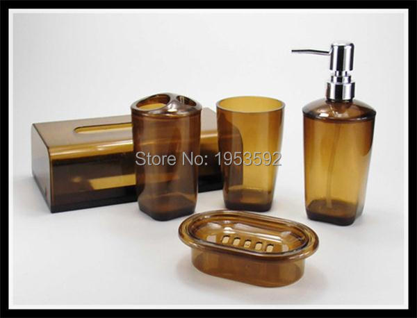 Free Shipping 5 Pieces Plastic Bathroom Set Bath Accessory Soap Dish ...