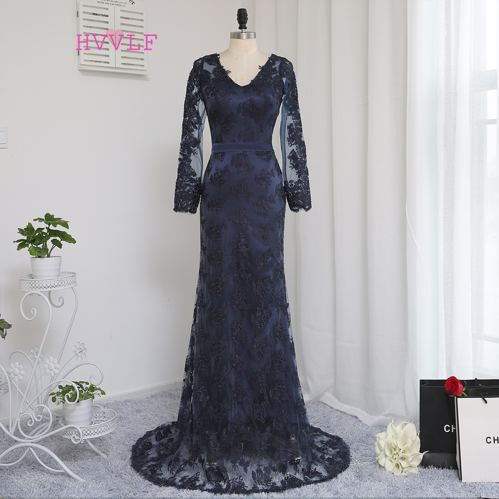 New Navy Blue   Evening     Dresses   2019 Mermaid V-neck Long Sleeves Appliques Lace Long   Evening   Gown Prom   Dress   Prom Gown