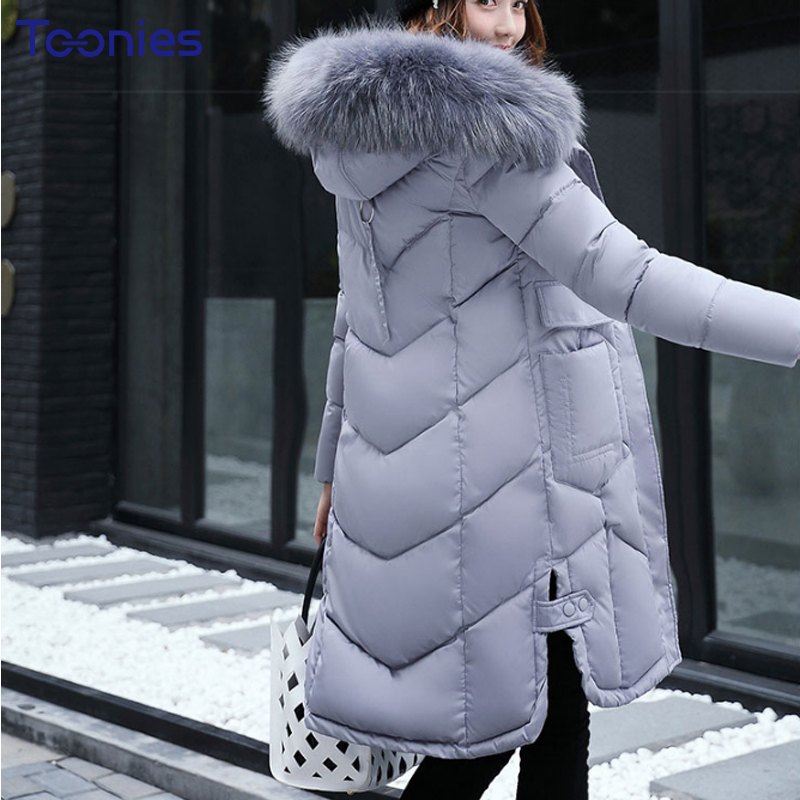 Abrigos Mujer Invierno 2017 Korean Style Long Winter Jacket Women Fur Hooded Parka Winter Coat Woman Thick Warm Chaqueta Mujer 2017 tassel design winter jacket women fur parka hooded short coat warm outwear padded cotton jacket abrigos mujer invierno coat