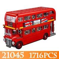 Рок палец 21045 1716 шт. техника Лондонский автобус модель Строительство Наборы Compitable 21045 LegoINGLYS автобус блок кирпичи игрушки подарок