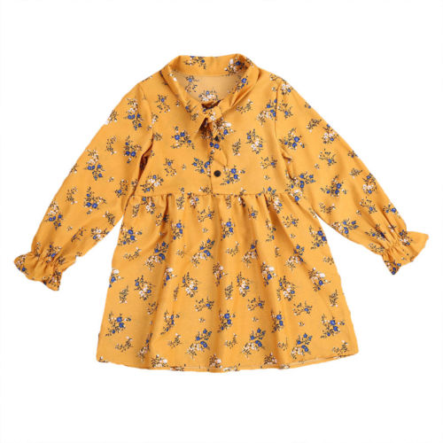 Toddler Kids Baby Girl Dress Yellow Xmas Floral Dresses Autumn Long Sleeve Tie Party Tutu Princess Clothes Girls Clothing new 2017 baby girls ruffle sweater dress kids long sleeve princess party christmas dresses autumn toddler girl children clothes