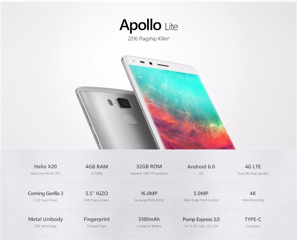 US $353 83 |5 5 Inch Original Vernee Apollo Lite Mobile Phone 4GB 32GB 4G  LTE 1080P Cell Phone Deca Core MTK6797 Android 6 0 16 0MP Touch ID-in