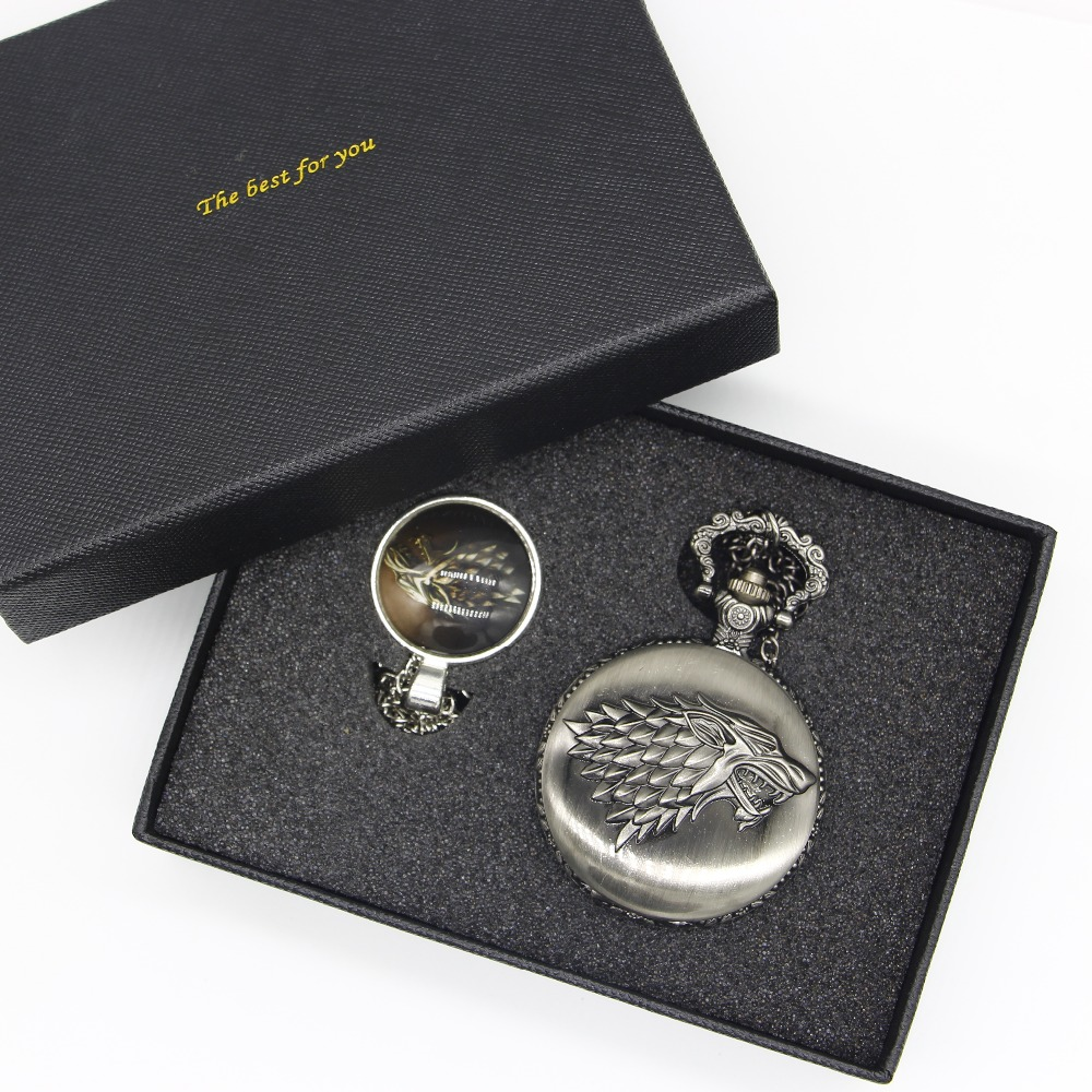 Antique Games of Thrones Quartz Pocket Watch Fob Clock Men Women Xmas Gift With Necklace Chain #120802 retro mary easter pocket fob watch with chain full hunter japan quartz movt pocket clock for men gift male relogio de bolso 2018