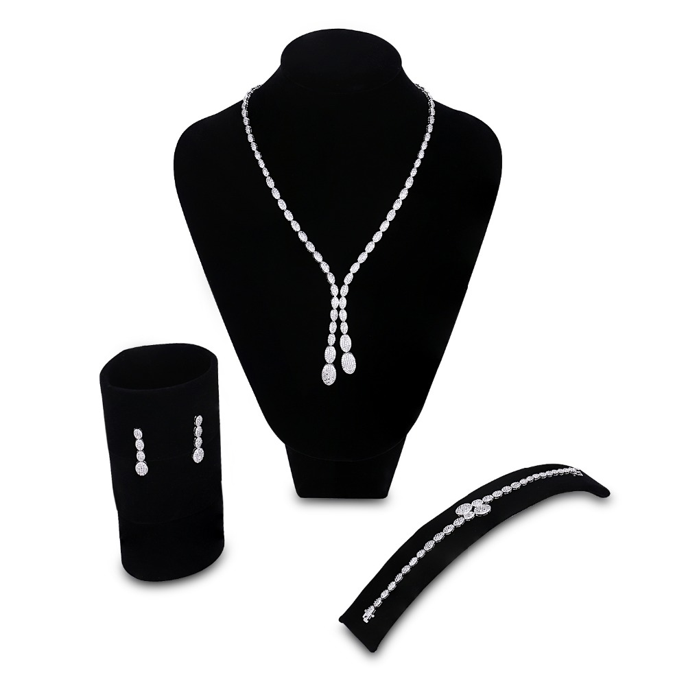 Bridal Jewelry Sets for women rhodium plated setting white CZ 3pcs jewelry set ( necklace + bracelet + earrings ) Free shippingBridal Jewelry Sets for women rhodium plated setting white CZ 3pcs jewelry set ( necklace + bracelet + earrings ) Free shipping