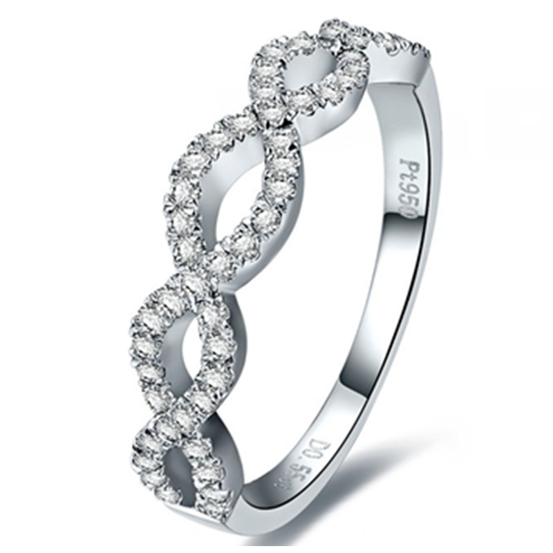 High Quality Man made Hand setting Micro inset Synthetic Diamonds Ring for Her 925 Sterling Silver Ring White Gold Color