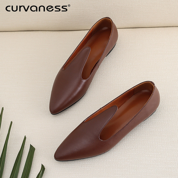 Curvaness 2019 Flat Shoes Women Sweet Flats Women Boat Shoes Slip On Ladies Loafers Spring Women Flats Brown