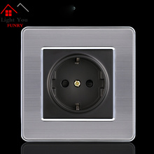 16A European Wall Socket Outlet 86 Type Germany Standard Charger Adapter Stainless Steel Kitchen Plug Sockets